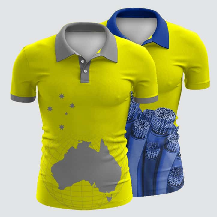 Design your own custom made sublimated polo shirts for Hi vis t shirt printing
