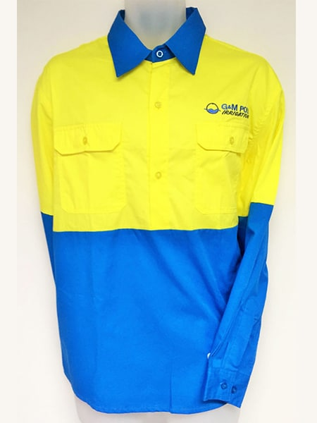 Hi-Vis Cotton Drill Work Shirt for G&M Poly Pipeline Specialists