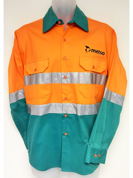 Hi Vis Cotton Drill Work Shirt For Metso