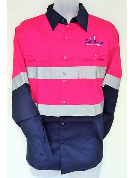 Pink Hi Vis Cotton Drill Work Shirt For Sirius Resources