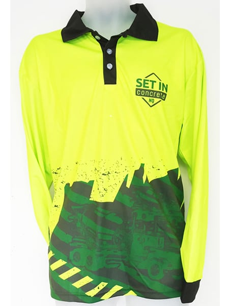 Hi-Vis Sublimated Polo Shirt for Set In Concrete - Custom Made Uniforms - Workwear