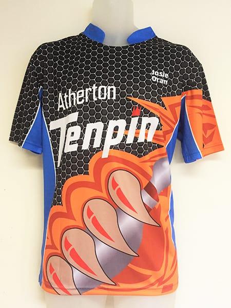 Sublimated Polo Shirt for Atherton Ten Pin Bowling - Custom Made Uniforms