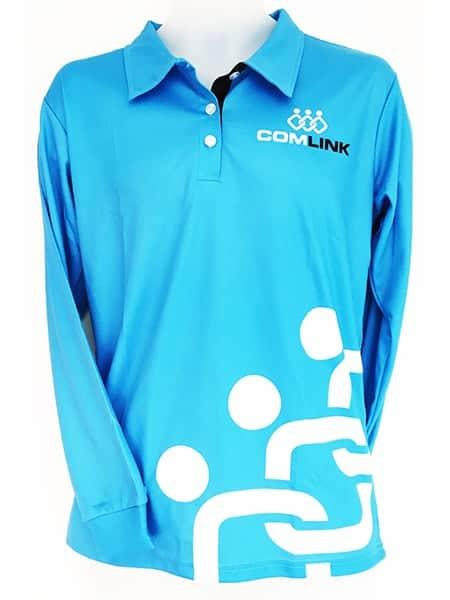 Sublimated Long Sleeve Polo Shirt for ComLink - Custom Made Uniforms