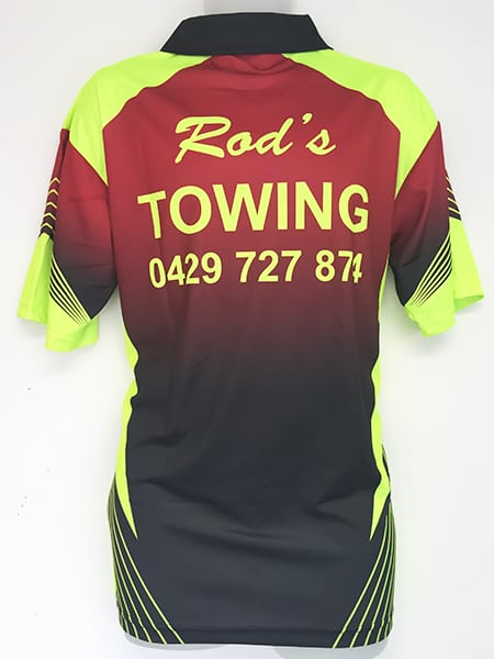 Sublimated Polo Shirt for Rod's Towing - Custom Made Uniforms