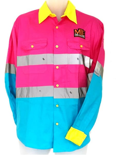 Hi Vis Cotton Drill Work Shirt For Mjf