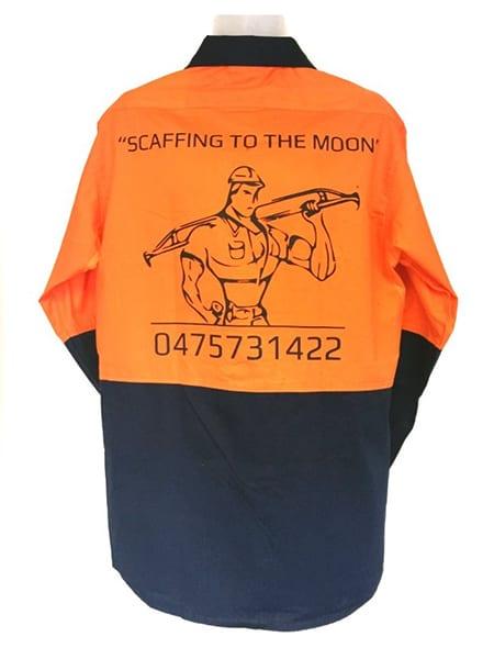 Hi-Vis Cotton Drill Work Shirt for Rippa Scaff - Custom Made Uniforms - Workwear