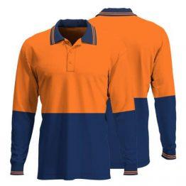 Hi Vis Long Sleeve Polo Shirt 007 - Custom Made Workwear